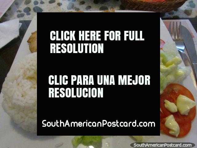 Chicken, rice and salad meal at Santo Pecado Restaurant in Tacna, yum! (640x480px). Peru, South America.