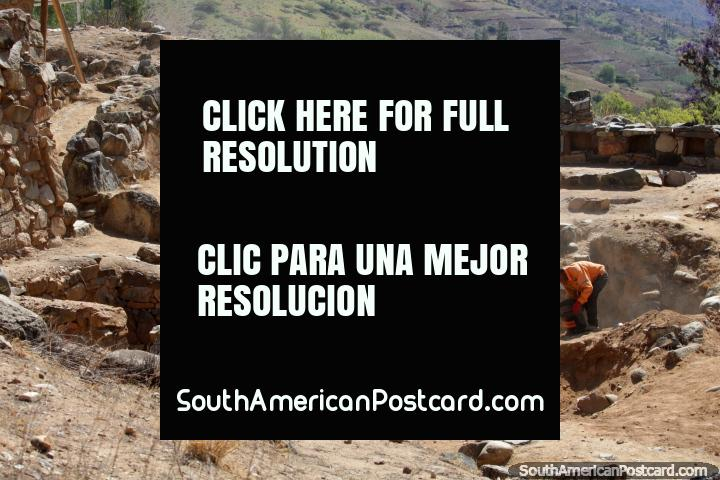 Excavations of the White Temple (Templo Blanco) at Kotosh, 4kms from Huanuco. (720x480px). Peru, South America.