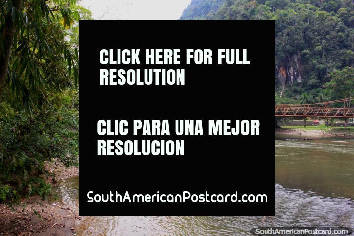 Bridge across the river as seen from Tingo Maria National Park. (720x480px). Peru, South America.