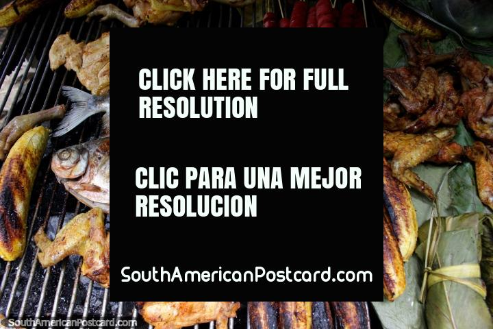 Barbecued fish, chicken and banana cooked by locals at Catarata Santa Carmen in Tingo Maria. (720x480px). Peru, South America.