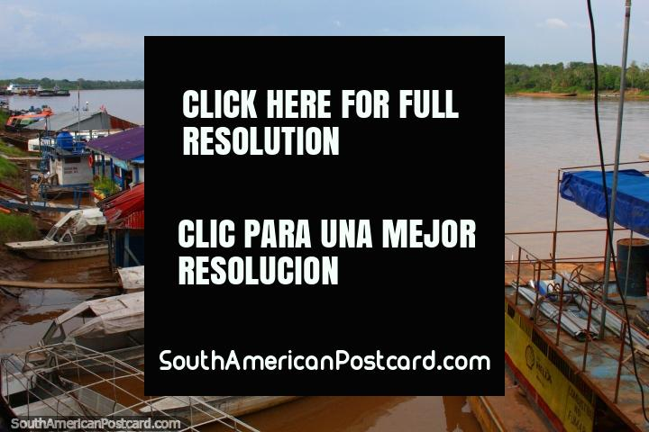 The Huallaga River in Yurimaguas for boats and ferries to Iquitos. (720x480px). Peru, South America.