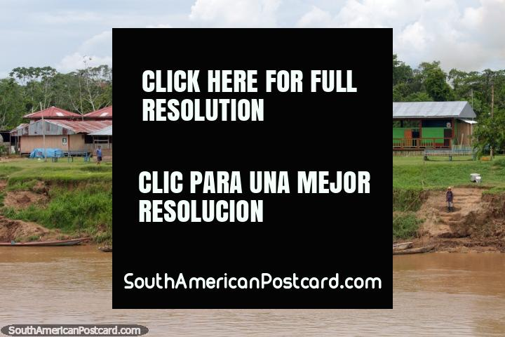 The community headquarters and school in the Santa Cruz District, halfway between Yurimaguas and Lagunas. (720x480px). Peru, South America.