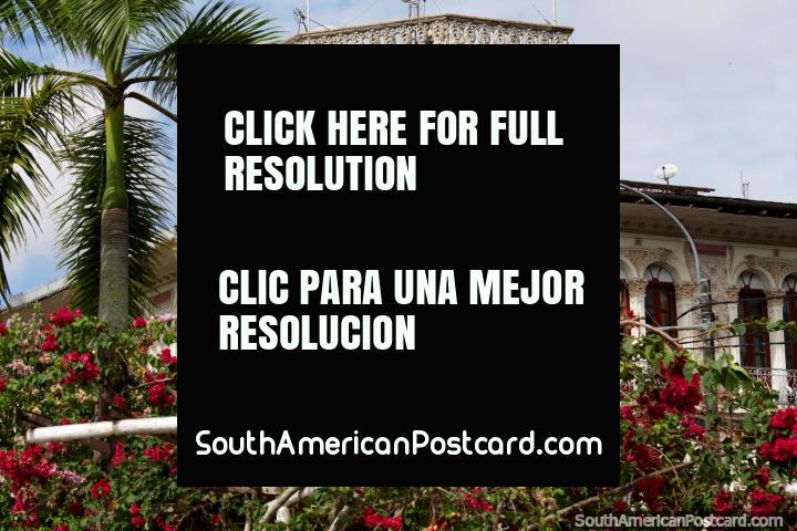 Arquitectura Portuguesa de Iquitos y bellas flores rojas en el malecon. (720x480px). Perú, Sudamerica.