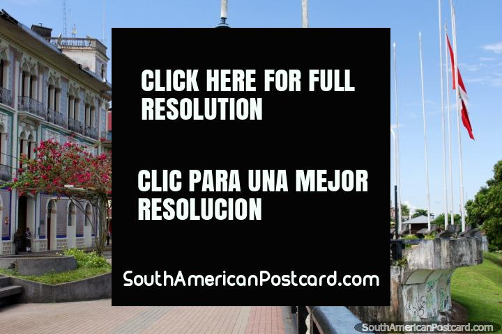 The beautiful malecon walkway and public area in Iquitos has bars and restaurants. (720x480px). Peru, South America.