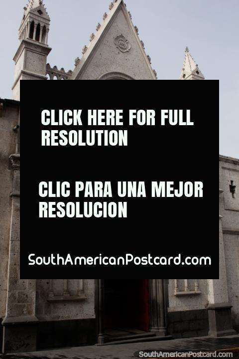 Santuario Eucaristico de Adoracion (Eucharistic Shrine of Worship), small stone church in Arequipa. (480x720px). Peru, South America.