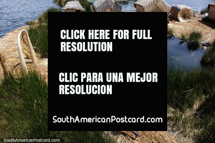 Children play and run around their floating reed island home, Lake Titicaca, Puno. (720x480px). Peru, South America.