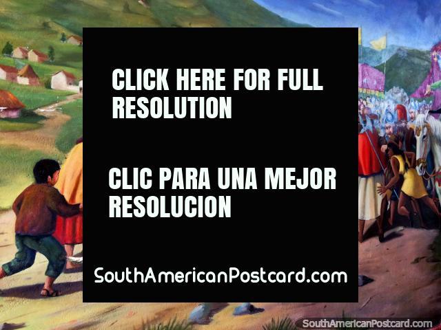 Encuentro de indígenas y colonizadores junto a las colinas del lago Titicaca, mural en Puno. (640x480px). Perú, Sudamerica.