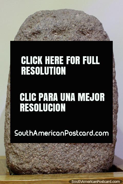 Pucara Anthropomorphic Head, early horizon granite rock 200BC, Carlos Dreyer Museum, Puno. (480x720px). Peru, South America.