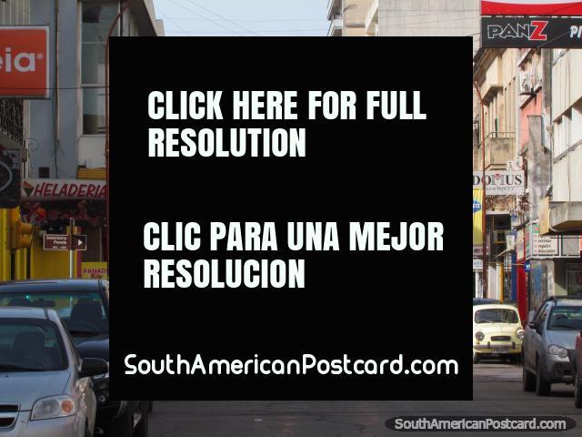 Paysandu's main street Av 18 de Julio leads down to the port. (640x480px). Uruguay, South America.