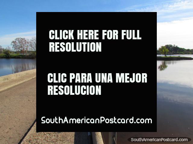 Bridge to Port Island (Isla del Puerto) in Mercedes, Negro River. (640x480px). Uruguay, South America.