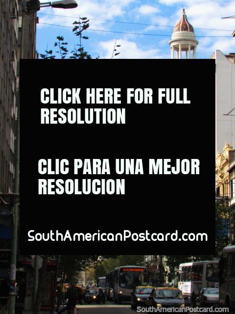 Av 18 de Julio and the Cine Rex Building in Montevideo. (480x640px). Uruguay, South America.