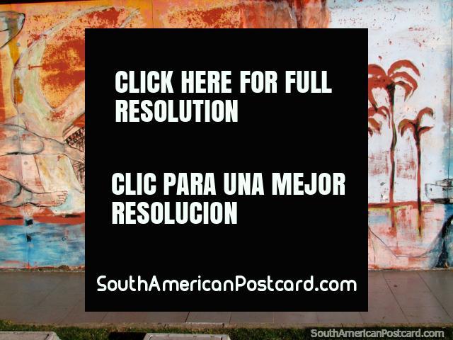Oriental faces and Teatro Solis graffiti art in Montevideo. (640x480px). Uruguay, South America.