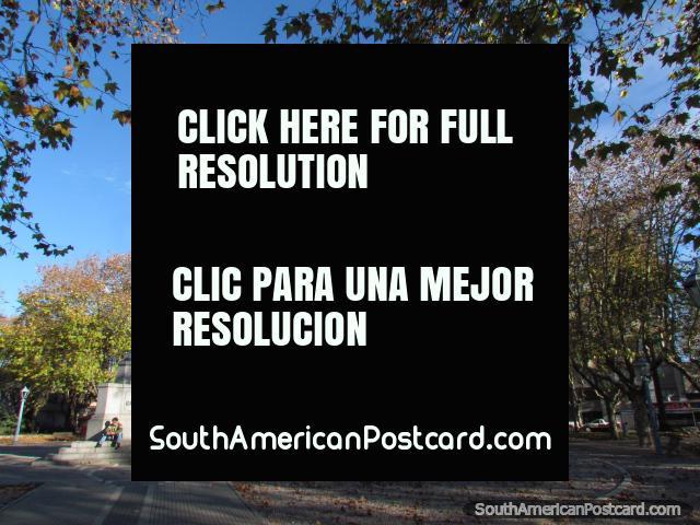The beautiful and leafy plaza principal in Durazno. (640x480px). Uruguay, South America.