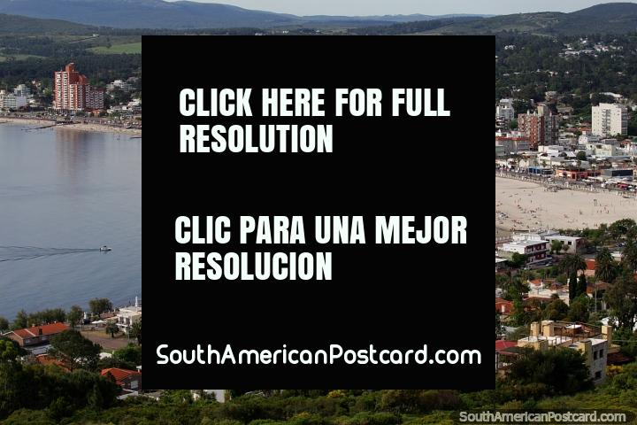 Truly a great view of Piriapolis with houses in the hills, the beach, city and countryside. (720x480px). Uruguay, South America.