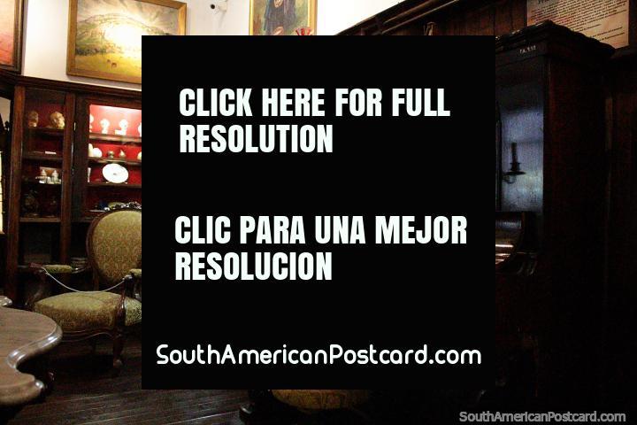 Piano room at Mazzoni Museum in Maldonado, open Tuesday - Saturday, 10am - 4:45pm. (720x480px). Uruguay, South America.