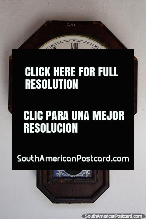 Juan Shaw (Montevideo) antique clock on display at Mazzoni Museum in Maldonado. (480x720px). Uruguay, South America.