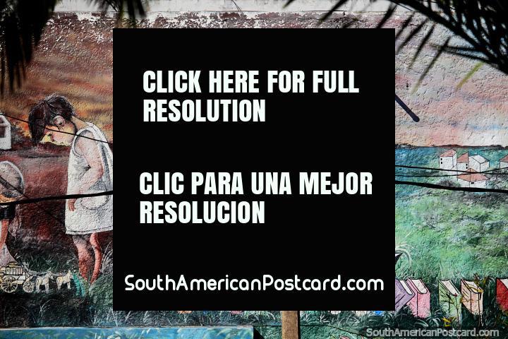 Inquisitive children read books and learn, mural at School 5 Alejandro and Samuel Lafone, Punta del Este. (720x480px). Uruguay, South America.