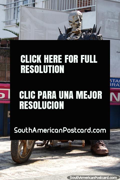 Skeleton in a black jacket on a motorbike, outside La Vista museum, art gallery and viewpoint in Punta del Este. (480x720px). Uruguay, South America.
