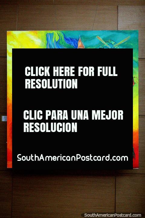The trio of Cervantes, musicians play in beautiful bright colors, painting for sale at La Vista gallery, Punta del Este. (480x720px). Uruguay, South America.