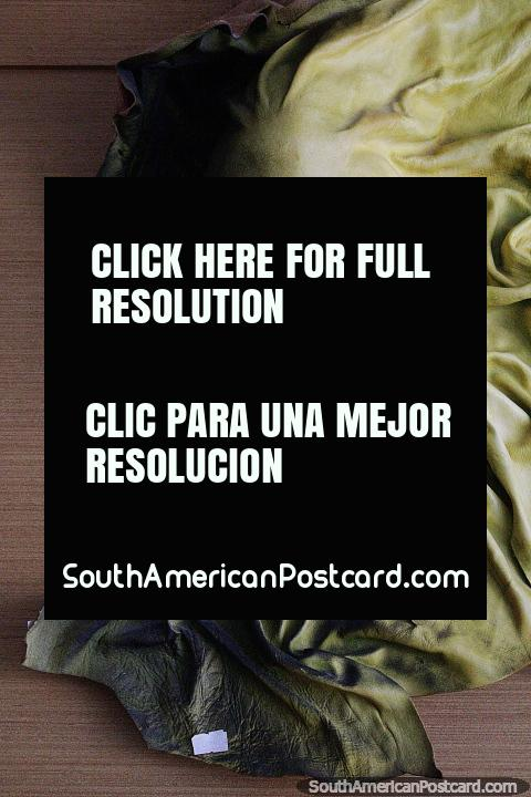 Leather artwork sculpted around a persons head and face, La Vista art gallery, Punta del Este. (480x720px). Uruguay, South America.