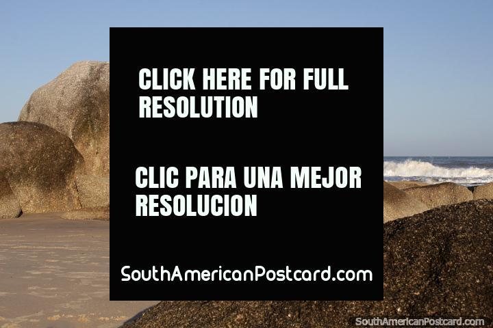 Boulders on the coast at Fishermans Beach at Punta del Diablo. (720x480px). Uruguay, South America.