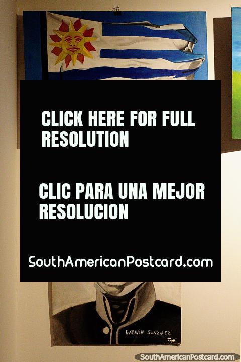 Pinturas de la bandera nacional y de José Artigas por los niños de Treinta y Tres. (480x720px). Uruguay, Sudamerica.