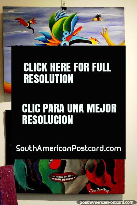 Pinturas abstractas en exhibición en el museo de bellas artes de Treinta y Tres. (480x720px). Uruguay, Sudamerica.