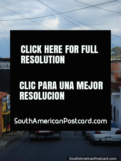 Small town street view from San Antonio to San Cristobal. (480x640px). Venezuela, South America.