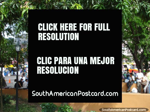 Mainly men sitting in Plaza Simon Bolivar, San Cristobal. (640x480px). Venezuela, South America.