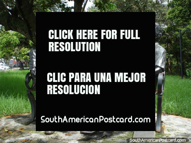 Don Tulio Febres Cordero and Gabriel Garcia Marquez sit in a park in Merida. (640x480px). Venezuela, South America.