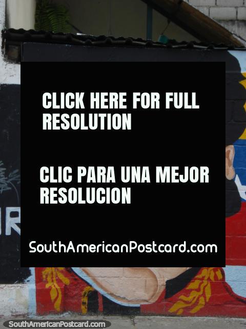 Simon Bolivar wall art in Merida, a regular sight. (480x640px). Venezuela, South America.