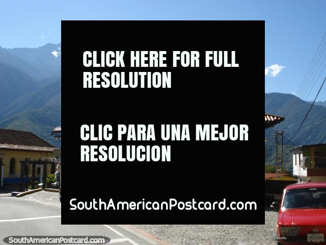 Transandina road out of Merida, township with mountains in the background. (640x480px). Venezuela, South America.