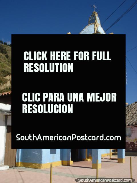 Blue and gold church near Mucuchies on the Transandina road from Merida. (480x640px). Venezuela, South America.