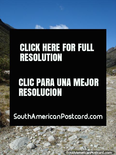 White rocky road up through the rocky surroundings of park Parque Nacional Sierra, Merida. (480x640px). Venezuela, South America.