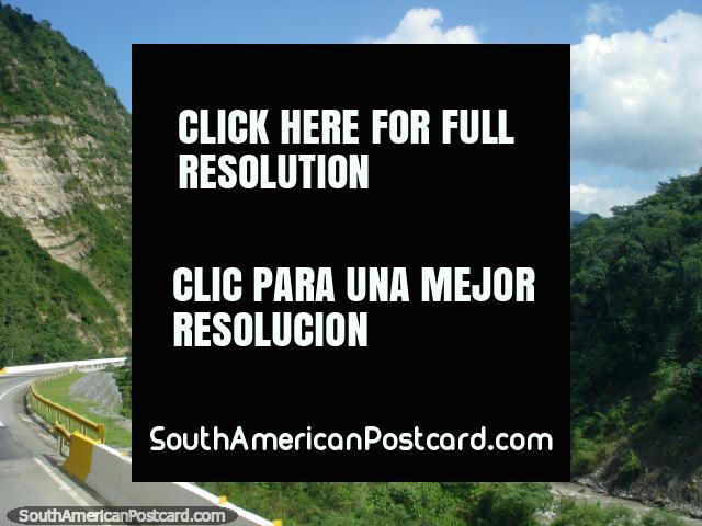The road beside the river gauge leaving Merida to Maracaibo. (640x480px). Venezuela, South America.