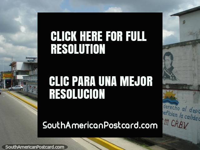 Simon Bolivar and another figure wall art between Merida and Maracaibo. (640x480px). Venezuela, South America.