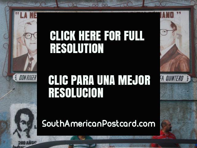 Dom Roger Leyba, Gonzalo Marquez, Pepe Lupe Polanco, Rafa Quintero, quadro de avisos e cartazes em Coro. (640x480px). Venezuela, América do Sul.