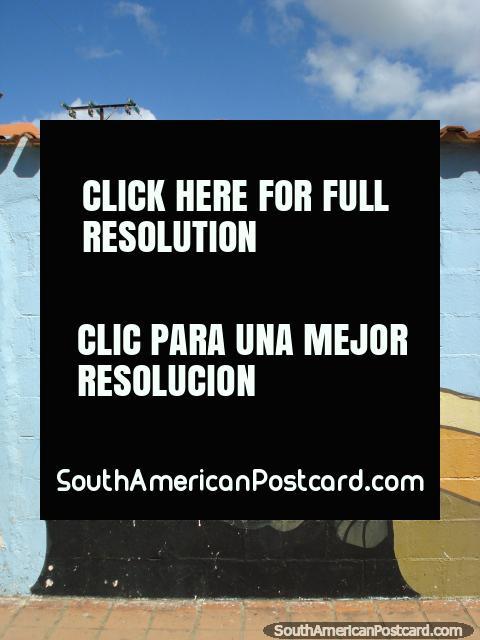 Jesus wall mural on wall in Coro. (480x640px). Venezuela, South America.