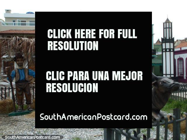 Natal em Porto Cabello, a aldeia com pessoas e animais. (640x480px). Venezuela, América do Sul.