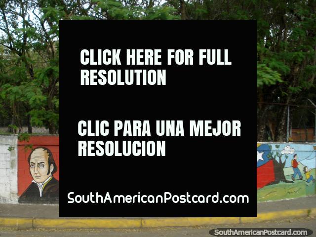 4 important men in Venezuela's history, wall art in Maracay. (640x480px). Venezuela, South America.