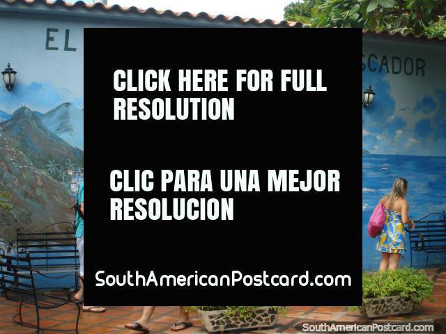 'El Reposo del Pescador' wall mural in Puerto Colombia. (640x480px). Venezuela, South America.