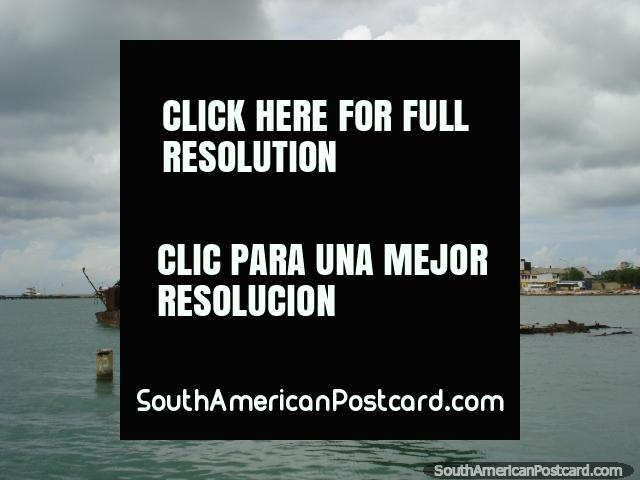 2 ship wrecks beside the jetty at Punta de Piedras near Porlamar. (640x480px). Venezuela, South America.