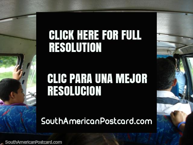 A co-op taxi van from the ferry to Porlamar cost 5 Bolivares and took 20 minutes. (640x480px). Venezuela, South America.