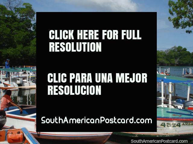 Boats to transport people across the lagoon to La Restinga on Isla Margarita. (640x480px). Venezuela, South America.