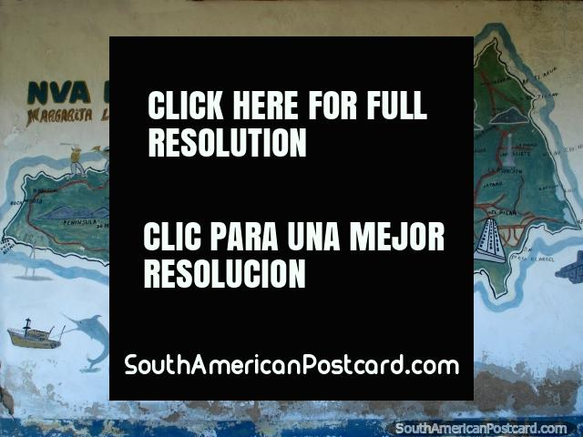 Map of Isla Margarita, La Restinga is right in the center. (640x480px). Venezuela, South America.