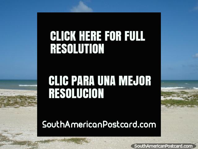Girl rides a bike along La Restinga beach on Isla Margarita. (640x480px). Venezuela, South America.