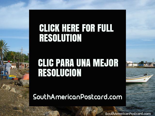 Looking towards the eastern side of Boca de Rio, Isla Margarita, boats, sea, houses. (640x480px). Venezuela, South America.