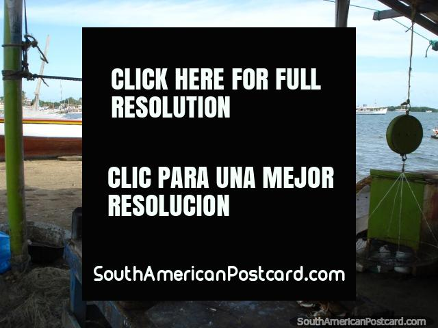 Looking across the bay of Boca de Rio towards the boats from the fish shed, Isla Margarita. (640x480px). Venezuela, South America.