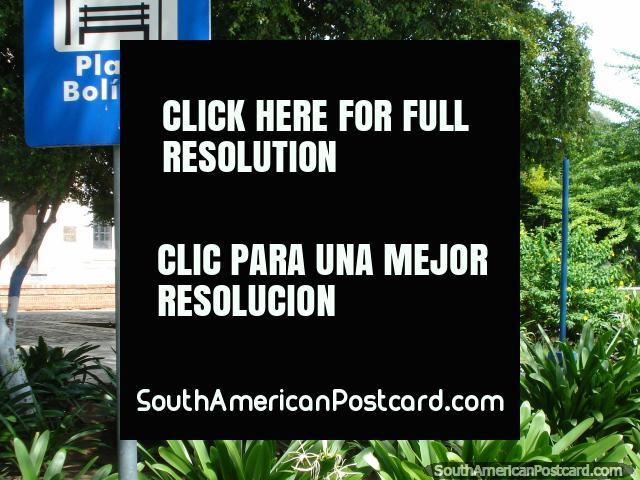 Shady Plaza Bolivar with trees and gardens in Pampatar, Isla Margarita. (640x480px). Venezuela, South America.