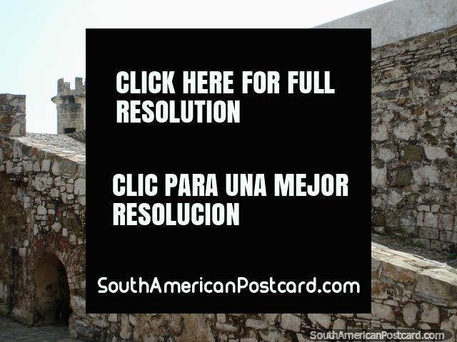 Steep stone ramp leading to the top deck of Castillo San Carlos de Borromeo castle, Pampatar, Isla Margarita. (640x480px). Venezuela, South America.